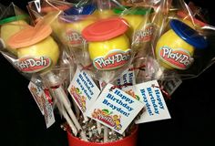 Play Doh Container Inspired Cake Pops.