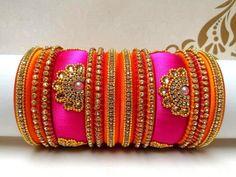 Indian Wedding Bangles Set of 14 Silk Thread Bangles Design, Silk Bangles, Silk Thread Earrings, Bridal Bangles, Thread Jewellery, Fabric Jewelry, Fancy Jewellery, Bracelet Fil, Jewelry Design Earrings