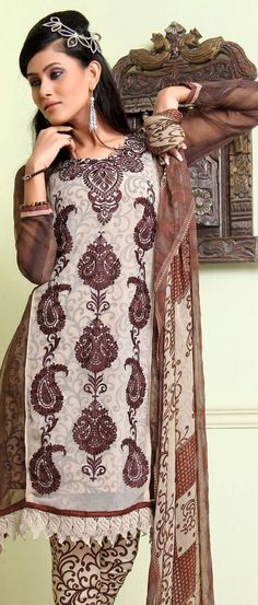 #Fawn and Brown Faux #Georgette #Churidar Kameez @ $34.61 | Shop @ http://www.utsavfashion.com/store/sarees-large.aspx?icode=kcr4048a