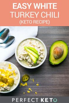 """This crazy easy white turkey chili has saved me $1000's in therapy sessions I would have needed to work through my glaring """"dry white turkey meat"""" issues. #keto #KetoLifestyle #KetoRecipes"""