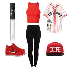 """""""My Way-Inspired by Bailey Sok"""" by brooklynbeauty18 ❤ liked on Polyvore featuring Pieces, NIKE, Moschino, T By Alexander Wang and NARS Cosmetics"""