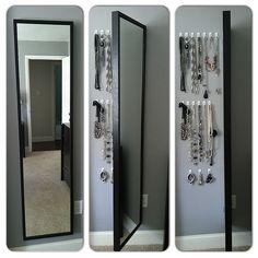 Oh IKEA how I love thee :)   IKEA Mirror: $39 3M Hooks: $8.88  2 amazing uses: Priceless.