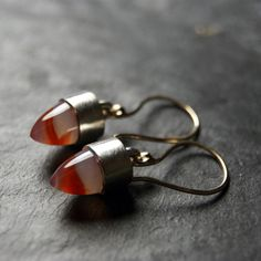 Mixed Metals Carnelian Agate Earrings in Recycled 14kt Yellow Gold and... (2.445 ARS) ❤ liked on Polyvore featuring jewelry, earrings, polish jewelry, bullet earrings, carnelian earrings, earring jewelry and yellow gold earrings