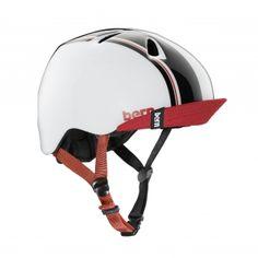 Bern Nino Kids Bike Helmet Gloss White- Racing Stripe- New!