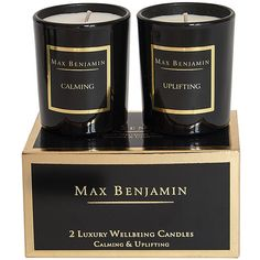 Max Benjamin Gold Collection - Twin Wellbeing Candles - Calming &... (¥4,910) ❤ liked on Polyvore featuring home, home decor, candles & candleholders, candles, fillers, other, black, black home decor, italian home decor and gold home accessories