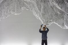 Yasuaki Onishi's upcoming installation at Rice Gallery in which the Japanese artist uses the simplest of materials – translucent plastic sheeting, strings of black glue, fishing line – to create monumental sculptures