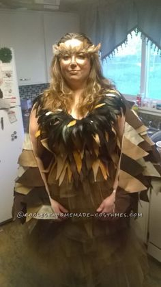 Homemade Whimiscal Owl Costume for a Woman - 1 or do colorful for bird of paradise
