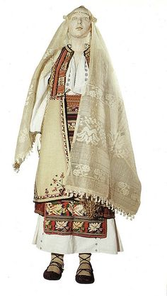 Traditional Romanian Folk Costume from Romanati, Oltenia.