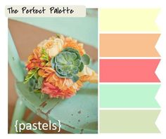 Great Color Pallet!   The Perfect Color Palette - Pastels.  Coral, Mint Green, Light Yellow, Sage & Peach