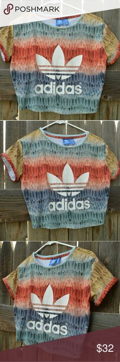 Adidas Feather Print Crop Top Super rare shirt from Adidas Originals. Good condition. Size extra small but fits a small. adidas Tops Crop Tops