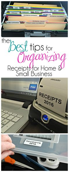 The Best Tips for Organizing Receipts for Home & Small Business - don't get caught unprepared when it comes time to file taxes - be prepared with these tips on Organizing receipts for Tax Time Receipt Organization, Small Business Organization, Office Organization, Financial Organization, Paper Organization, Organizing Tips, Business Planning, Business Tips, Online Business