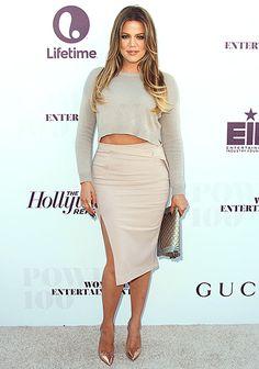 Khloe Kardashian Pulls a Kim in Monochromatic Crop Top, Skirt Combo - Us Weekly