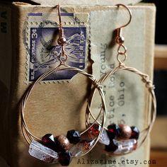 StrungOut guitar string brass hoop earrings with by strungoutstars, $28.00