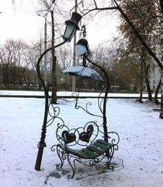 Romantic bench in Novosibirsk, Russia