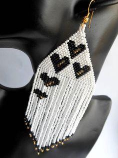 Beaded Earrings handmade Love Earrings heart Extra Large Earrings Inspired Dangle Long Earrings Valentine gift for her gift for wife - lana Seed Bead Jewelry, Seed Bead Earrings, Diy Earrings, Earrings Handmade, Handmade Jewelry, Bead Embroidery Jewelry, Beaded Jewelry Patterns, Beaded Earrings Native, Beaded Bracelets