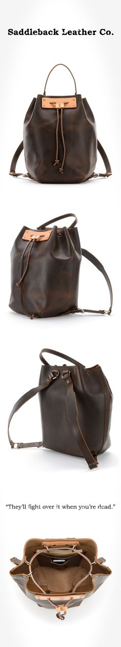 The Saddleback Leather Bucket Backpack in Darck Coffee Brown   100 Year Warranty   $259.00