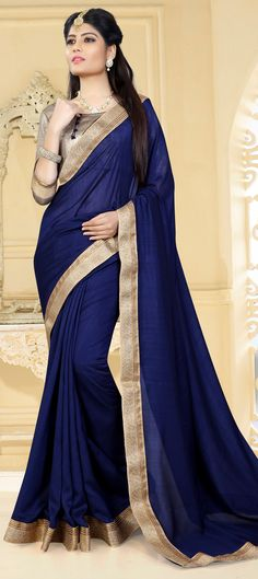 61bb5081254bb0 742959 Blue color family Party Wear Sarees in Faux Chiffon fabric with Lace  work with matching unstitched blouse.