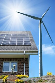 My dream home would have both solar power panels and a wind turbine. Gotta try to go green!