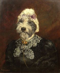 "Thierry Poncelet Belgian (born1946- ) Oil on Canvas ""Whimsical Portrait of a Terrier Dressed in Victorian Garb"""