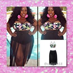 ‼️COMING IN A FEW DAYS AVAIL TO PURCHASE NOW PLUS ‼️ COMING IN A FEW DAYS AVAIL TO PURCHASE NOW‼️Sexy Retro Plus Size Floral Lightly Padded Bikini Swimsuit Cover up Chiffon Long Skirt Great For Larger Busts Material: 80% polyester & 20% spandex Style: Plus Size Size: L-4XL Package include: The top & The skirt XXXL: US Size 14-16; Cup: D-E Glam Squad 2 You Swim One Pieces
