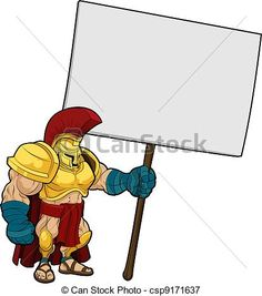 Vector - Tough Spartan or Trojan holding sign board - stock illustration, royalty free illustrations, stock clip art icon, stock clipart icons, logo, line art, EPS picture, pictures, graphic, graphics, drawing, drawings, vector image, artwork, EPS vector art