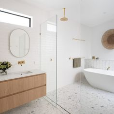 Modern Bathroom💥 Brisbane CUSTOM Home Builds & Renovations - DIVINE HOMES. Home Pictured: AMAROO HOUSE. Laundry Chute, Terrazo, Terrazzo Flooring, Bathroom Renovations, Bathrooms, Bathroom Ideas, Bathroom Inspiration, Piece A Vivre, Building A New Home