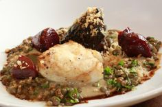 #LancashireLife #Luncheon, The Fenwick Arms, Claughton. Roast #monkfish with #ginger braised ox cheeks, spiced lentils and #beets.