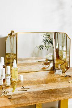 Shop Gold Dressing Table Mirror at Urban Outfitters today. Vintage Dressing Tables, Dressing Table Mirror, Dressing Table Decor, Dressing Area, Dressing Rooms, Mirrors Urban Outfitters, Urban Outfitters Home, Urban Outfitters Apartment, Mirrors