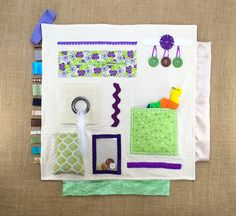 Purple & Lime - Fidgit Activity Blanket for Alzheimer's | Dementia  by TheFidgitShoppe
