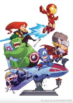 Baby Avengers being protected by S.H.I.E.L.D., by Cara McGee || Phil Coulson, Thor Odinson, Steve Rogers, Tony Stark, Clint Barton, Natasha Romanoff, Bruce Banner || 300px × 370px || #fanart