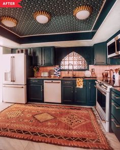Before and After: The Best Part of This Full Kitchen Reno is the Ceiling Dated Kitchen Redo - DIY Kitchen Makeover with Painted Cabinets Layout Design, Küchen Design, House Design, Kitchen Reno, Diy Kitchen, Kitchen Remodel, Kitchen Ideas, Kitchen Cabinetry, Kitchen Colors