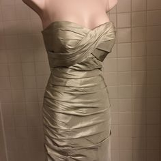 Bill Levkoff Strapless Olive Ruched Dress Size 2