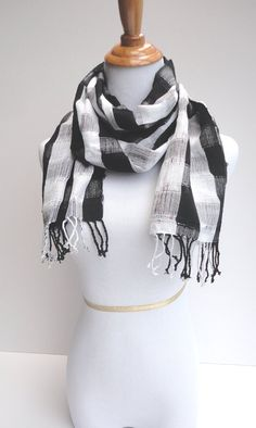 Unisex Handwoven Scarf Black and White Plaid Hand by TheFairLine