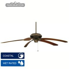 """Fanimation Belleria Ceiling Fan - Aged Bronze with All Weather Mahogany Blades 72"""" / 80"""""""