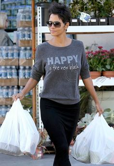 Peace Love World Happy Is The New Black Comfy Raglan in Black - as seen on Halle Berry