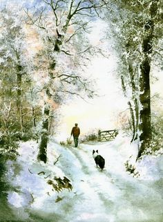 Winter walk-Border Collie-watercolour