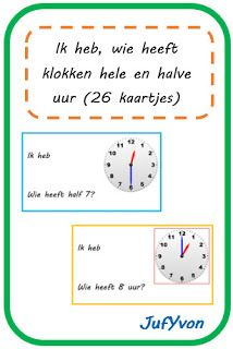 Ik heb, wie heeft...? - klokken hele en halve uur (26 kaartjes) OB MB Clock For Kids, Back 2 School, Cooperative Learning, Circuit, Teaching, How To Plan, Bb, Math, Education