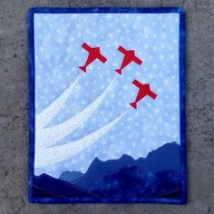 Alpine Flight - Miniature Quilt by RMarino - Craftsy Quilting Projects, Quilting Designs, Sewing Projects, Sewing Ideas, Diy Projects, Boys Quilt Patterns, Paper Piecing Patterns, Boy Quilts, Mini Quilts