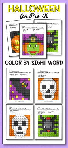 Halloween Activities for Preschool - Halloween activities for preschool, kindergarten and first grade kids. Your students will have so much fun coloring these color by sight word printable sheets These worksheets are a great addition to your literacy centers. Your students will enjoy these color by sight word games pages that you can add to morning work and even homework. #Halloween #activities #school #preschool #printables #fun #sheets #kids