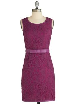 http://www.modcloth.com/shop/dresses/lunch-party-dress  Lunch Party Dress - Faux Leather, Mid-length, Solid, Lace, Belted, Party, Sheath / Shift, Sleeveless, Purple, Pockets, Bows, Exclusives