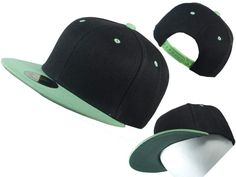 Wholesale Flat Bill Vintage Retro Snapback Hats (Two Tone, Black/Lime)  YUMMY!