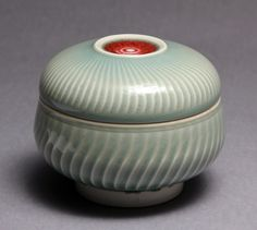 Wheel thrown covered jar / wish box with Chattering Texture by Hsinchuen Lin. $120.00, via Etsy.