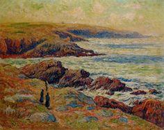 La côte près de Douarnenez, huile sur toile de Henri Moret (1856-1913, France)