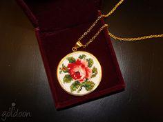 cross stitch necklace,goldoon,cross stitch jewelry,hand stitched, handmade , handicraft ,embroidery