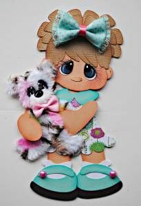 ELITE4U CUSTOM TEAR BEAR girl paper piecing premade scrapbook page mat WOLFFEY5