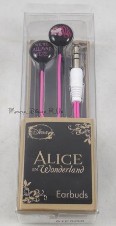 New Disney Alice In Wonderland Cheshire Cat All Mad Earbuds Earphones Headphones in Consumer Electronics, Portable Audio & Headphones, Headphones   eBay @BP0613