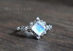 14K/18K Elsa Princess Cut Moonstone Ring white by MichelliaDesigns <--- Elsa? Looks like the Tesseract to me.