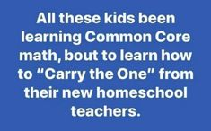 """All these kids been learning common core math, bout to Learn how to """"carry the one"""" for the new homeschool teachers Math Memes, Teacher Memes, Math Humor, Appreciation Quotes, Teacher Appreciation, Parenting Humor, Kids And Parenting, Silly Quotes, Indoor Activities For Kids"""