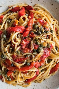 a simple pantry pasta full of roasted red peppers capers shallots garlic lemon white wine and butter servings 24 Yummy Pasta Recipes, New Recipes, Vegetarian Recipes, Dinner Recipes, Cooking Recipes, Healthy Recipes, Pizza Recipes, Dinner Ideas, Chicken Recipes