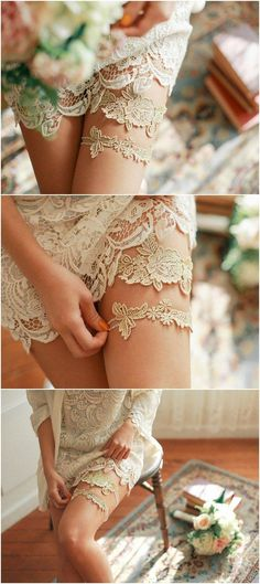 gold lace bridal garter set